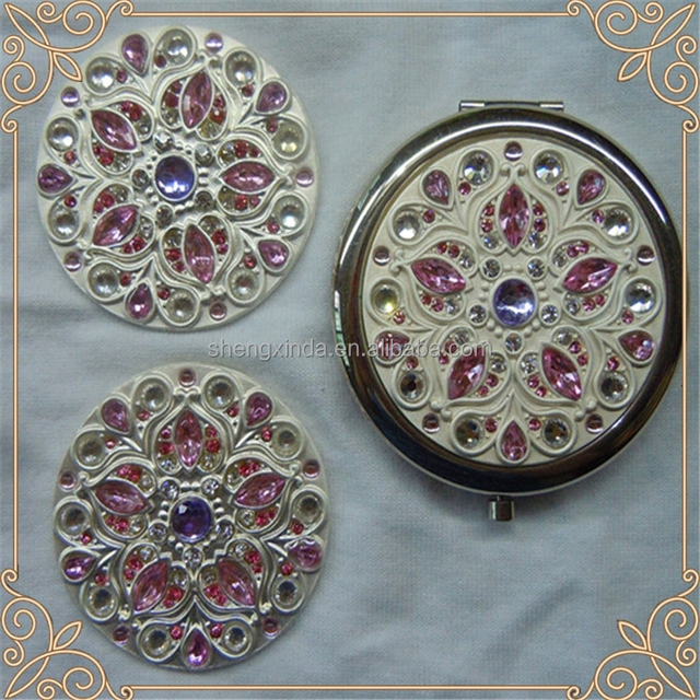 custom wholesale red precious stone metal makeup compact mirror wedding gift for women