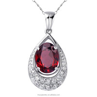 waterdrop crystal 925 sterling silver elegant lady ruby gemstone big stone pendant design