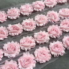 Shabby Flower Lace Trim,High Quality Chiffon Rose Flower Lace