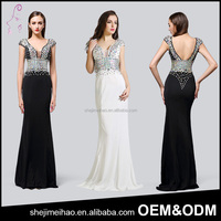 OEM Luxury Banquet Party Dress Paillette Design Backless High Waisted Floor Touching Black Evening Dress