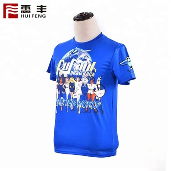 Blue Tshirts With Logo Custom Logo Printed 100 Polyester