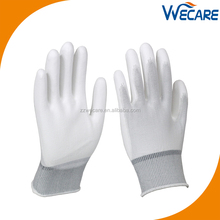 Factory Price 13 Gauge White Nylon Knitted White Palm Fit Coated Nylon Assembly Work PU Gloves for Sale