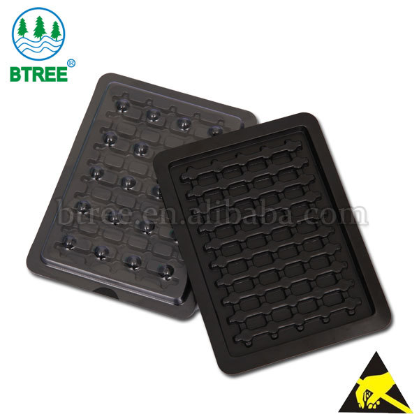 Btree Conductive Black Plastic PET Trays For Electronics