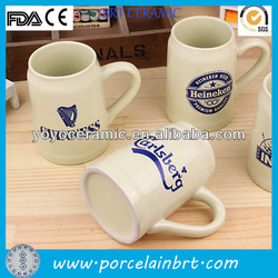 white wholesale high quality porcelain beer cup with handle