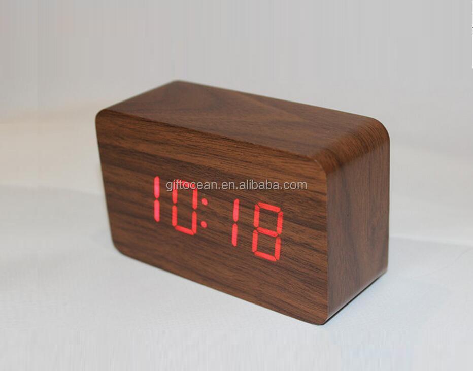 10 4 6 cm digitale kleine led mdf houten alarm tafelklok. Black Bedroom Furniture Sets. Home Design Ideas