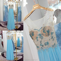 RP50141 Beaded cap sleeve night gown evening party dress blue evening gowns sheer a-line prom dresses