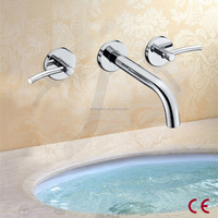 Wall Mounted Dual Handles Hot and Cold Brass Faucet