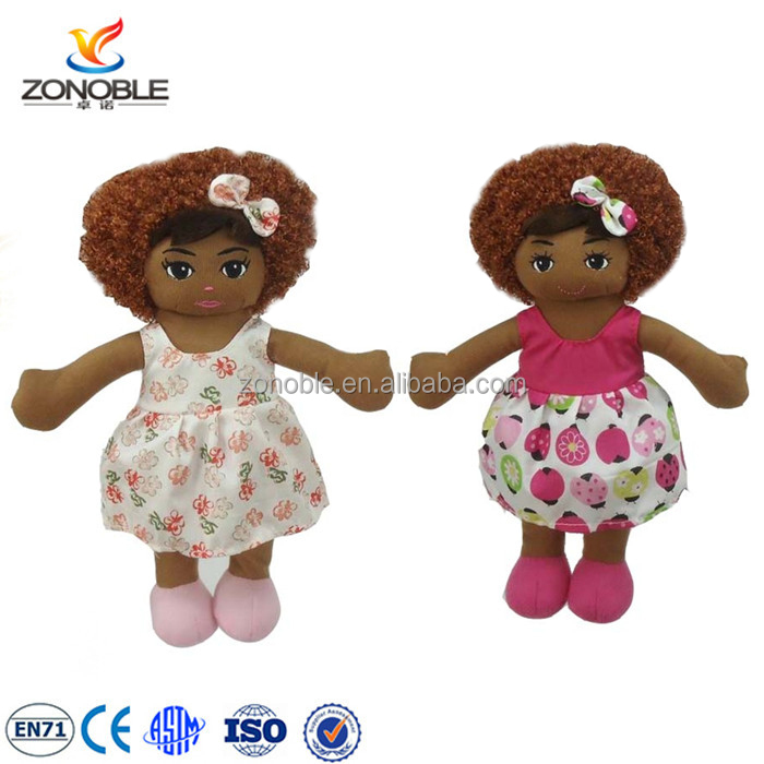 Customized cute cheap african american black doll for children fashion soft stuffed plush black doll