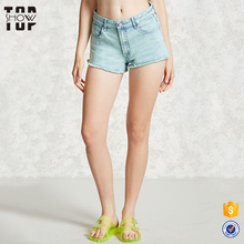 Oem zip fly frayed hem acid wash shorts in bulk denim shorts for women
