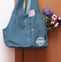 Imitation jean cheap shoulder pet carrier dog cat bag