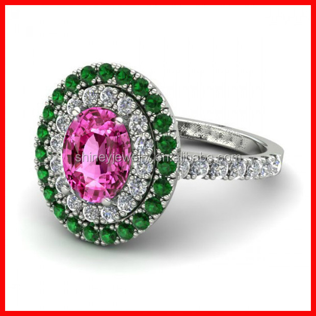 New arrived unique design oval shaped pink emrald becautiful women ring
