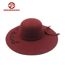 Design your own band embroidery red wool felt hat blank wholesale for girls