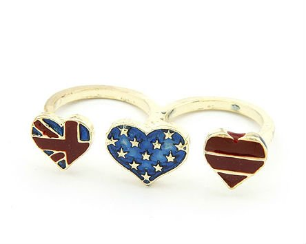 Fashion Double Finger Ring,Three Heart Flag Ring Jewellery FR05