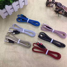 S6 Cable Micro USB Cable Colorful Braided Noodle Flat Charging USB Wire 1M/3ft Nylon Woven For iphone 6 6S 5 4 Galaxy S5 Note3