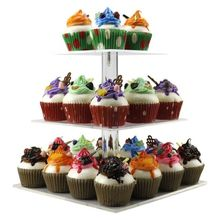3 Tiers Stacked square Acrylic Cupcake Stand Cake Holder Dessert Display Tower