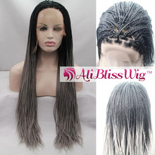 "22"" Heat Resistant Fiber Hair Dark Roots Two Tone Ombre Silver Grey Synthetic Lace Front African Braided Wig for Black Women"
