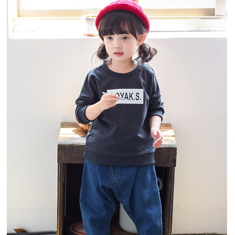 c016 2017 New European trendy Slim long-sleeved crewneck dog cartoon cute print sweater for children