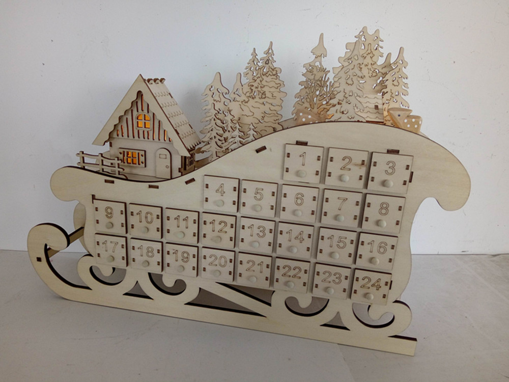 Laser Engraved Unfinished Wood Advent Calendar- Countdown to Christmas with LED