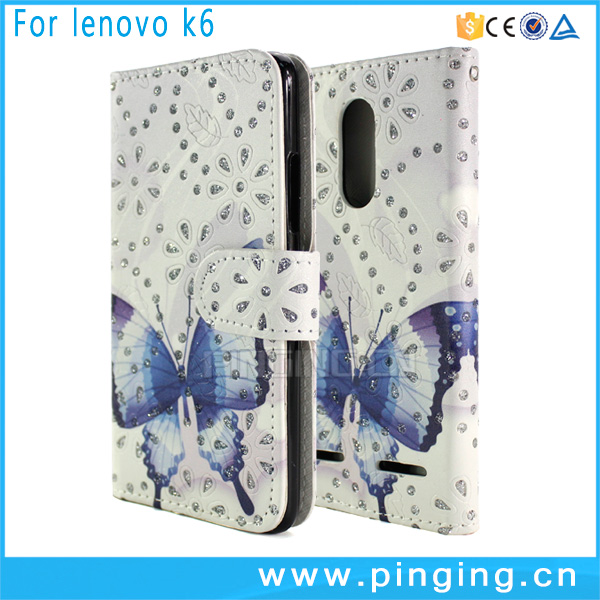 Butterfly Print Glitter Powder Wallet PU Leather Case Cover Pouch With Card Slot Case For Lenovo K6