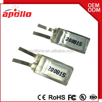 Smallest 3.7v battery li polymer battery 3.7v 200815