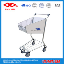 Stainless steel 4 wheels airport shopping cart
