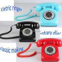 Color corded cheap rotary phone with machine ringer