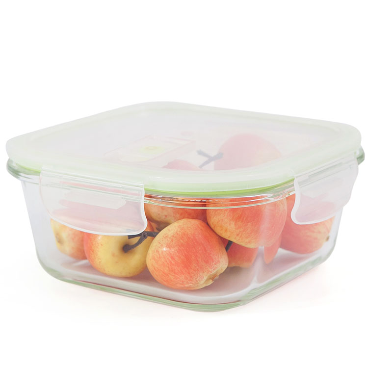 650ml round glass food container with lock lid pet food storage box