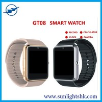 New product smart watch 2015,bluetooth smart watch GT08 support ios system,smart watch GT08 with sim card VS DZ09 smart watch
