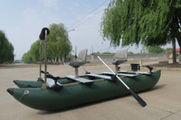 2016 Popular Inflatable Fishing cat belly boat for Sale AFH-375 Army green with rotating seats!!!