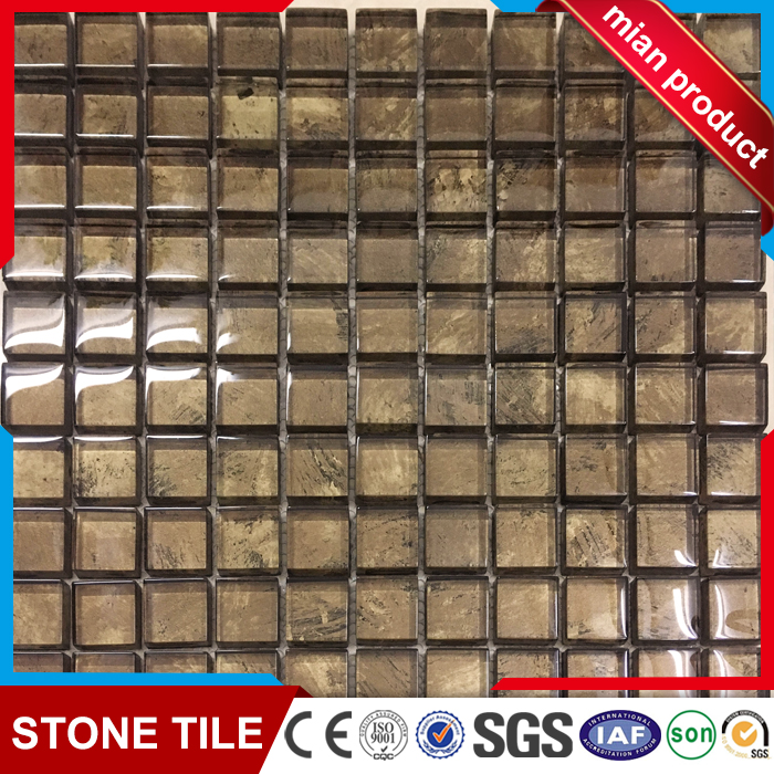Bronze/Copper Glossy Glass Mosaic Tile for Bathroom