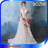 French lace floral design short sleeve fancy woman taobao wedding dress