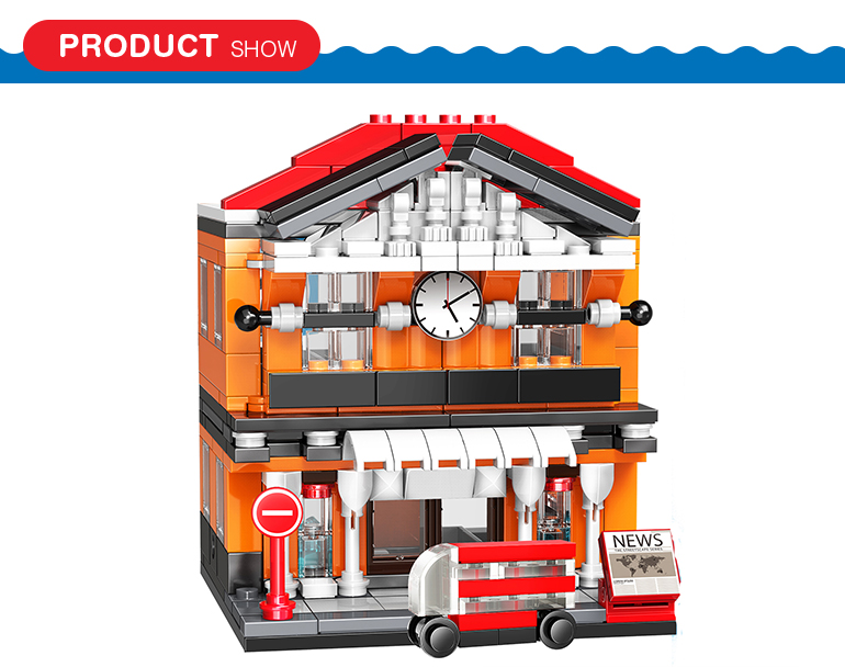 310 pcs city street series building block set railway station brick house toy for kids playing