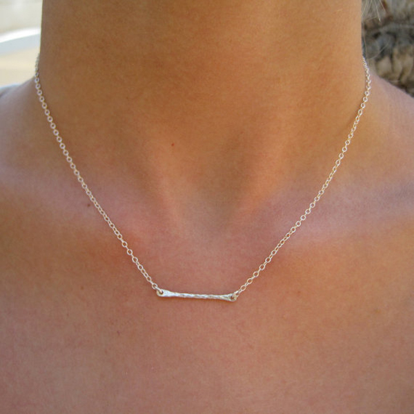 New Design Vogue Young Popular Hammered Jewelry Gold Bar Necklace