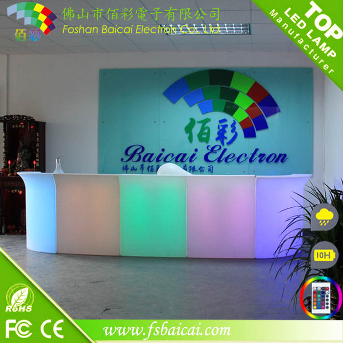 commercial bar furniture 16 colors remote contral white PE plastic high bar cocktail table illuminated led bar counter