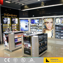 Wood cosmetic display cabinet and showcase for cosmetic shop design