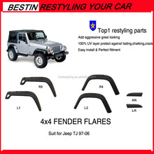 4x4 OFF ROAD Brand new Matte Black Bolt-on Style Fender Flares for JEEP TJ