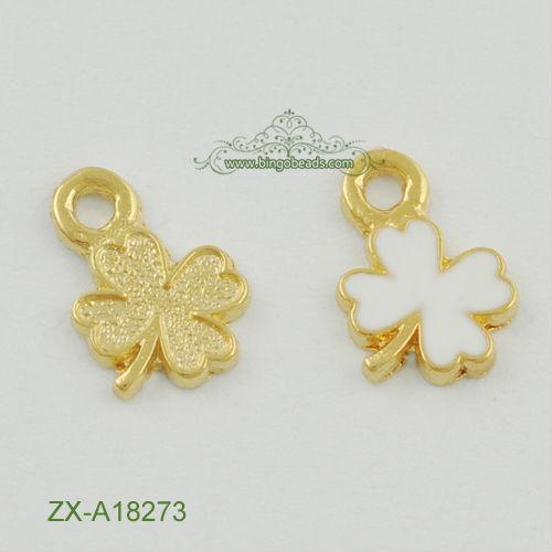 Gold Enamel Lucky Four Leaf Clover Charm Pendant