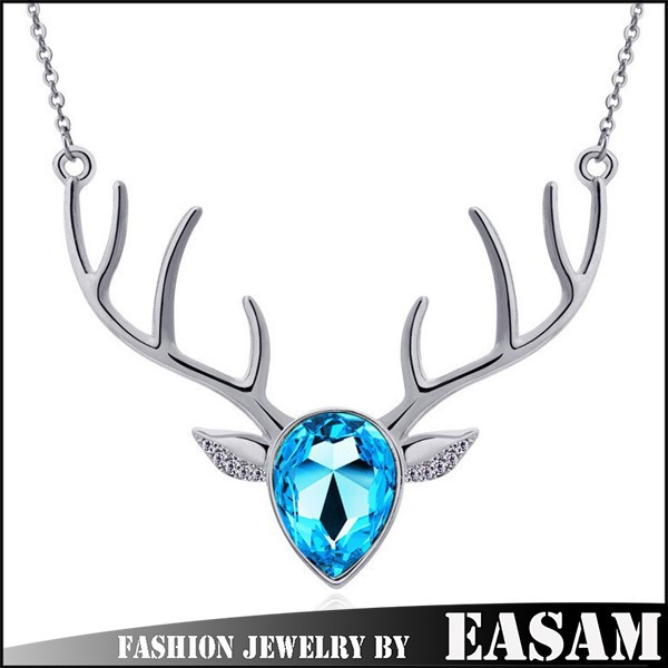 Yiwu Wholesale Gold Chain Metal/Crystal Elk Necklace