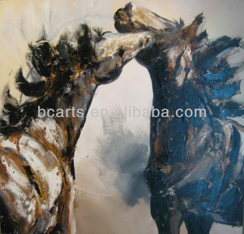 Handpainted abstract home goods oil painting of black and white horses On Canvas, animal kiss pictures for sale