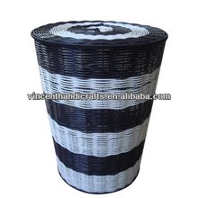 with lid bathroom big size laundry basket Black and white woven PP laundry hamper