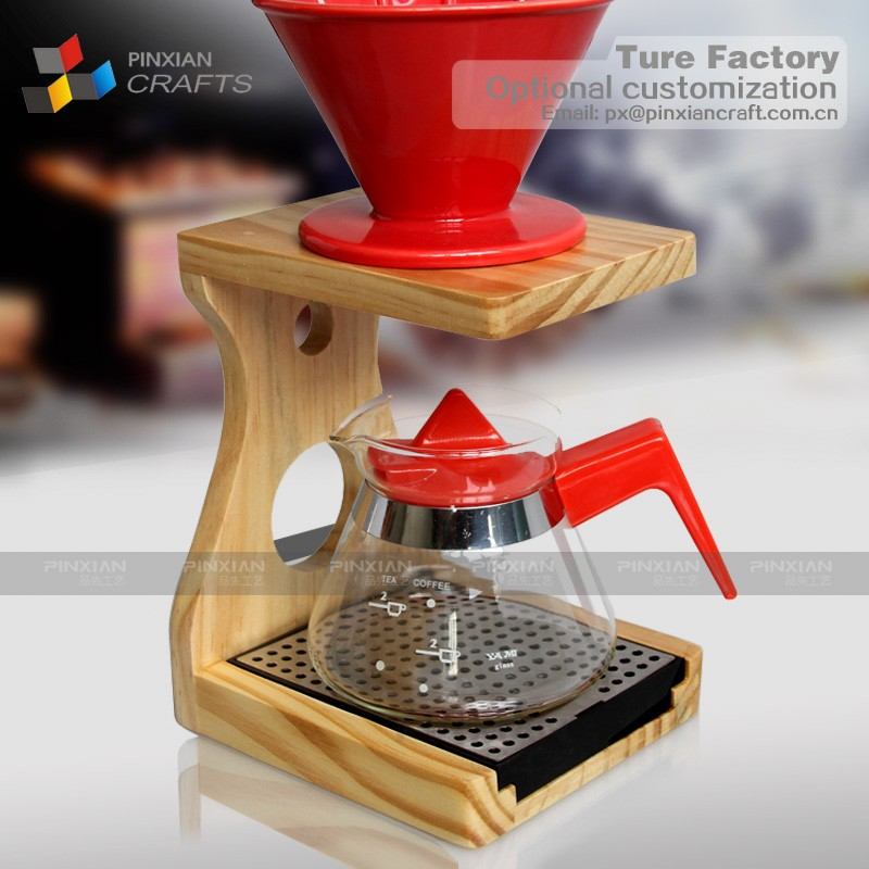 Wood <strong>Coffee</strong> &Tea Maker Dripper Stand Drip Station with Stainless Steel Plate