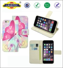 Factory OEM Printing Patterns PU leather wallet flip cover case for iphone 7
