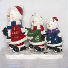30inch Big Christmas Ornament Figurine Three Snowman Skiing With Led Light