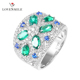 Factory direct wholesale rings 2019 rock zircon gemstone ring 925 sterling silver green stone ring