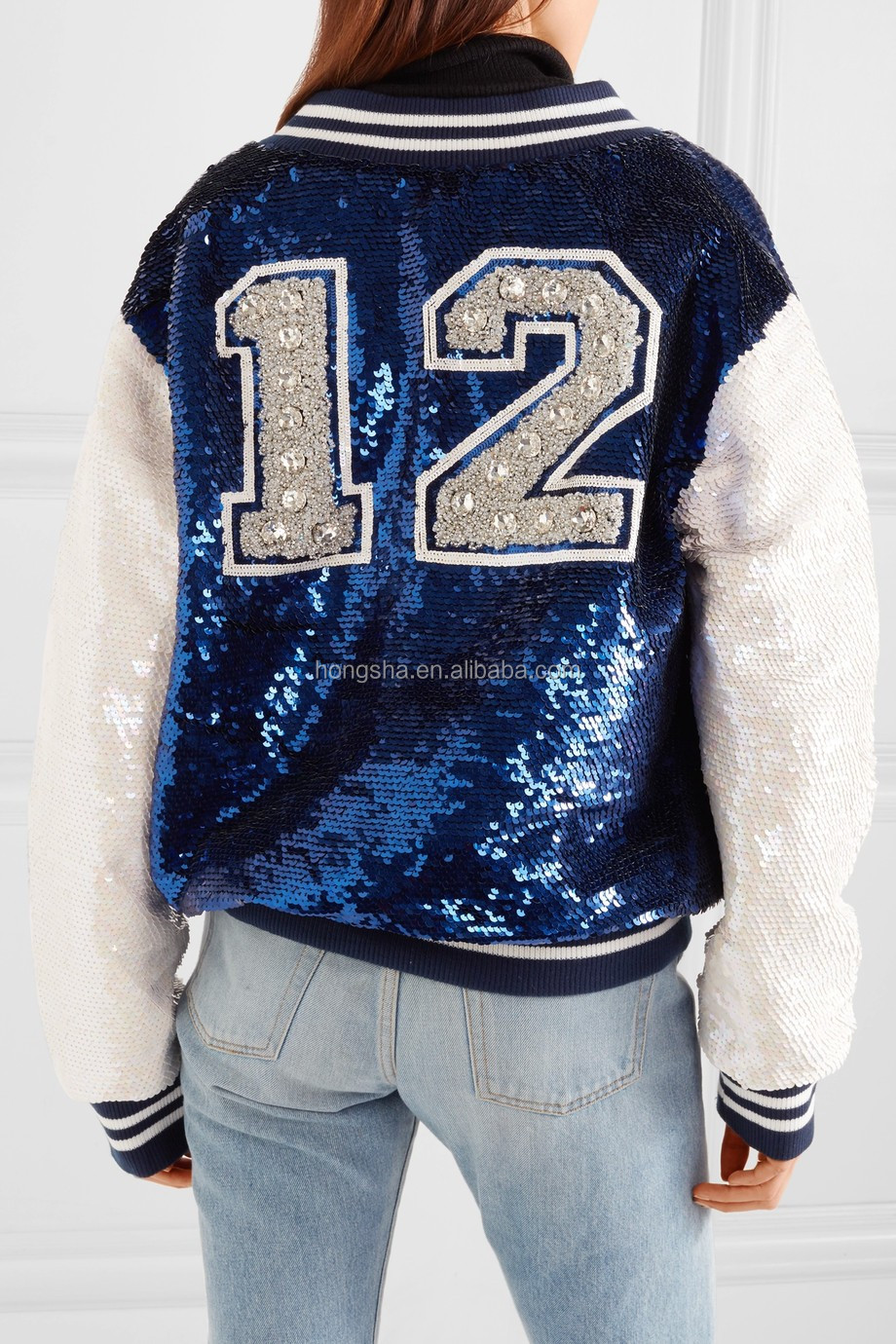 Customize Embellished Crepe Royal-Blue White Reversible Sequin Down Bomber Jackets For Women 2017 HSJ5842