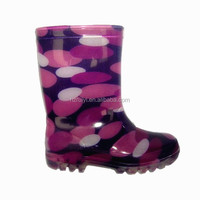 kids lostland long inject pvc transparent jelly rain boots with heel