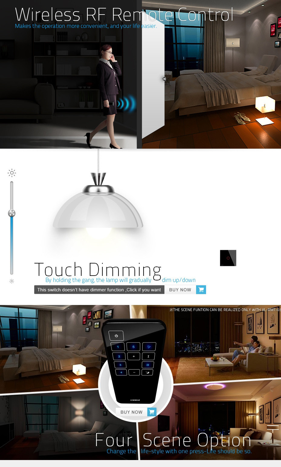Electrical Switch EU standard 2 gang 2 way wireless remote controlled wall light switch 220v