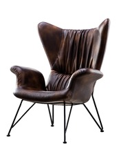 Import Italian Wax Leather Chair With Iron Leg For Home Or Hotel Furniture