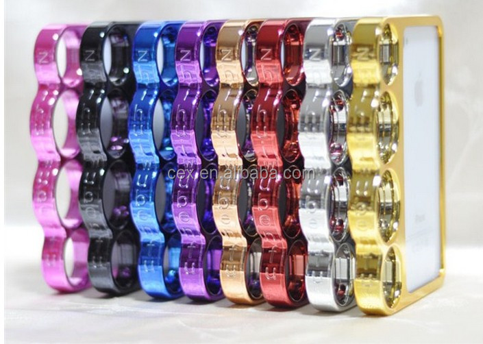 Wholesale - Newest Creative Ring Knuckle Bumper Hard Chrome Case Cover For Apple iPhone 5 5G
