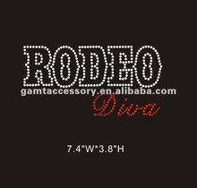 Al por mayor rhinestone transferencia <span class=keywords><strong>rodeo</strong></span> diva iron on bling para camisetas